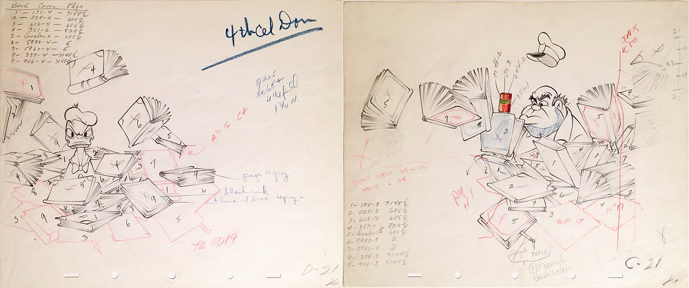 "Original Production Animation Drawings of Donald Duck, Security Guard, and Autograph Books from ""The Autograph Hound,"" 1939"