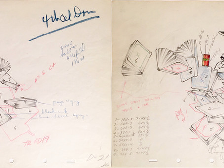 "Original Production Animation Drawings of Donald Duck and Guard from ""The Autograph Hound,"" 1939"