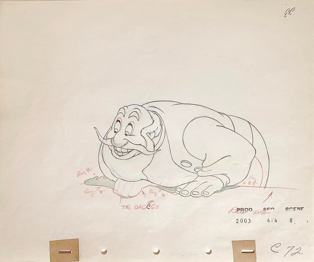 "Original Production Animation Drawing of Stromboli from ""Pinocchio,"" 1940"