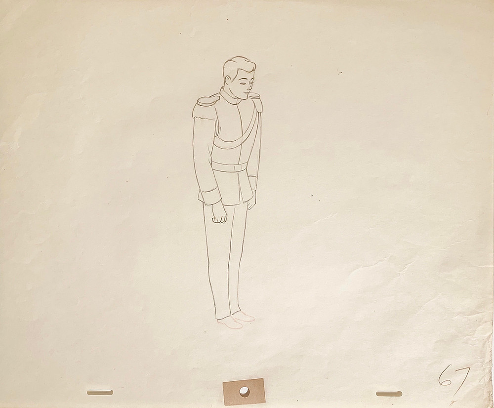 "Original Production Animation Drawing of Prince Charming from ""Cinderella,"" 1950"