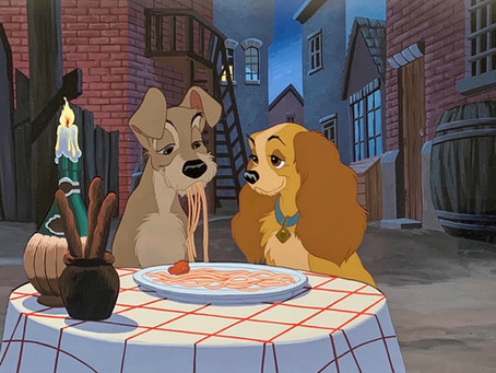 "Original Production Animation Cels of Lady and Tramp from ""Lady and the Tramp,"" 1955"