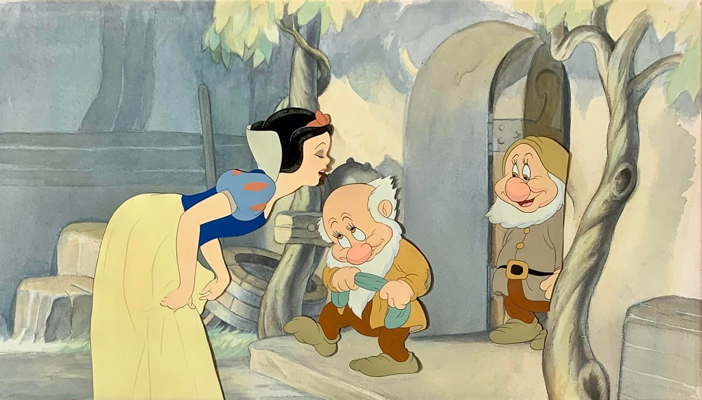"""Original Key Setup of Snow White, Bashful and Sneezy from """"Snow White and the Seven Dwarfs,"""" 1937"""