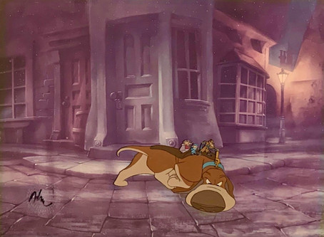 """Original Production Animation Cels of Toby Basil, Olivia, & Dawson from """"The Great Mouse Detective"""""""