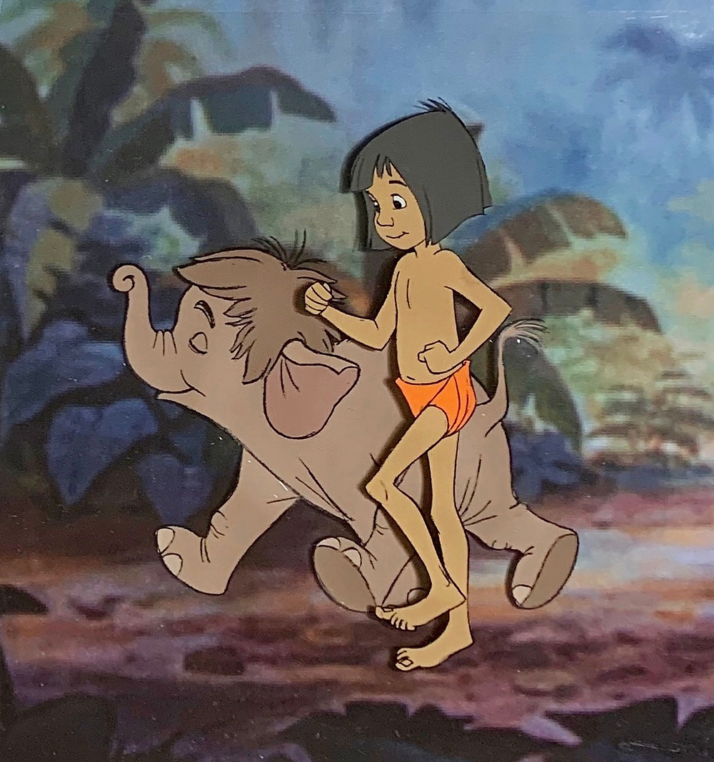 "Original Production Animation Cels of Mowgli and Hathi Jr. (Baby Elephant) from ""The Jungle Book,"" 1967"