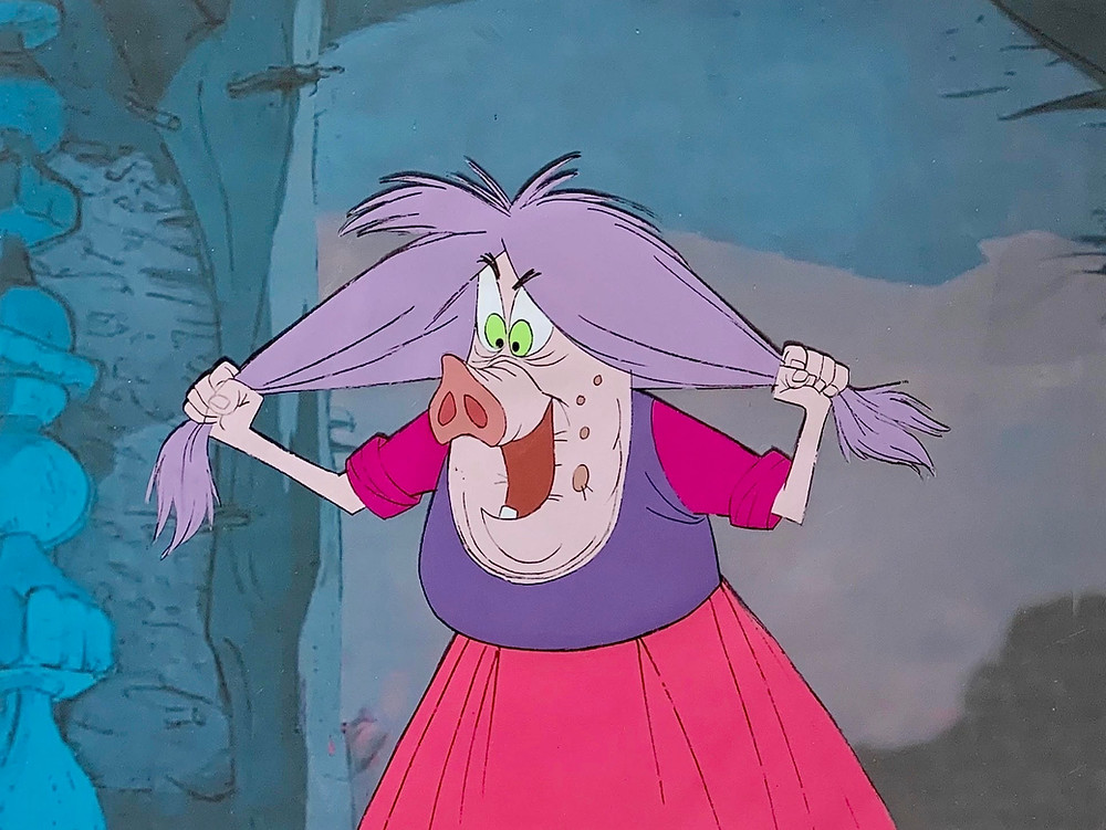 "Original Production Animation Cel of Mad Madam Mim from ""The Sword In The Stone,"" 1963"