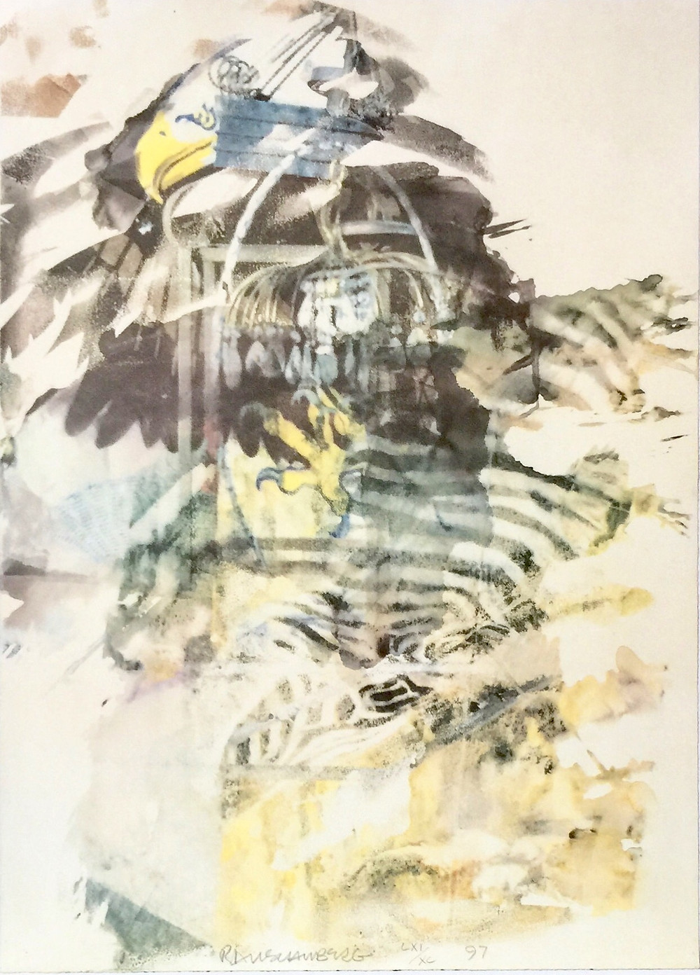 "Caucus, 1997; Lithograph on Arches paper; Signed Rauschenberg, numbered LXI/XC, and dated '97 lower center; Published by Noblet Serigraphie, Inc., New York; Size - Sheet 37 x 27""; Unframed."