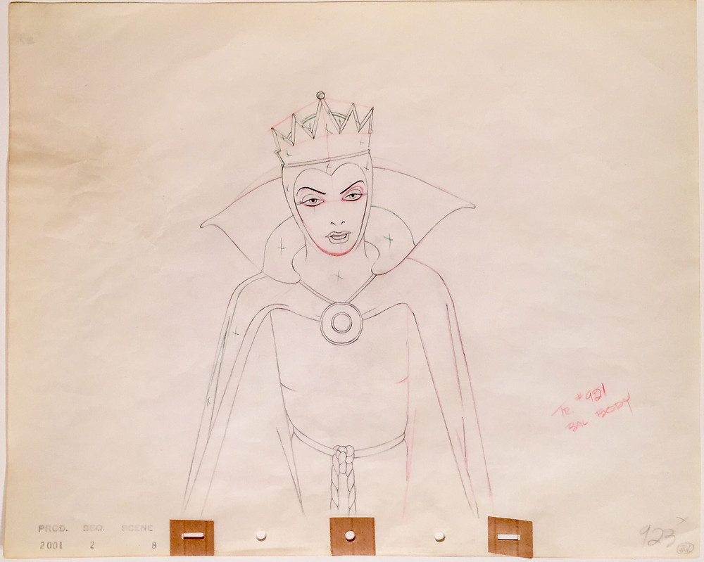 "Original production drawing of the Evil Queen from ""Snow White and the Seven Dwarfs,"" 1937; Graphite, green, and red pencils on watermarked five peg hole paper; Production numbers stamp lower left and numbered 923 in graphite pencil lower right; Size - Queen 10 x 6 3/4"", Sheet 12 1/2 x 15 1/2""; Unframed."