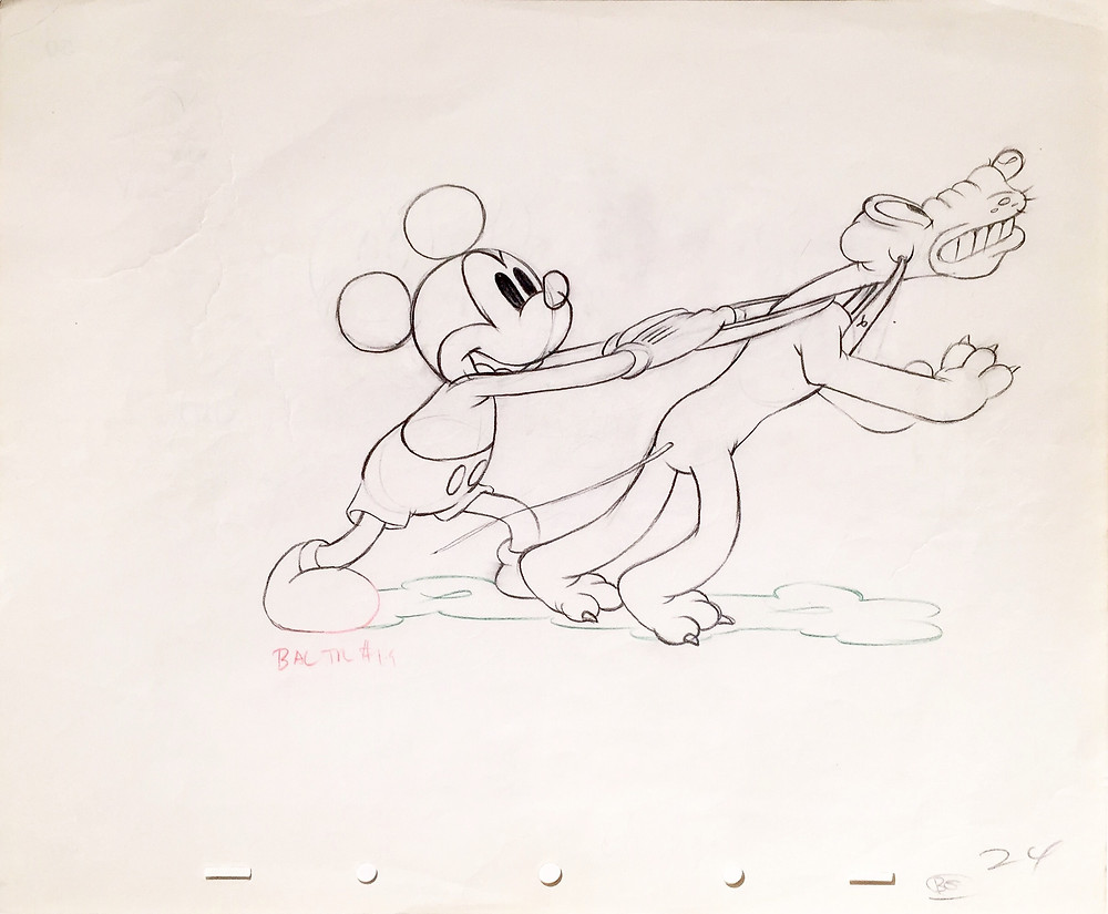 "Original Production Animation Drawing of Mickey Mouse and Pluto from ""Society Dog Show,"" 1939"