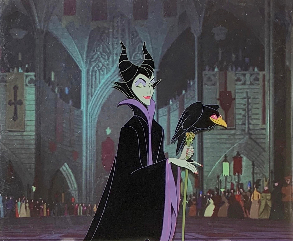 """Original Production Animation Cels of Maleficent and Diablo from """"Sleeping Beauty,"""" 1959"""