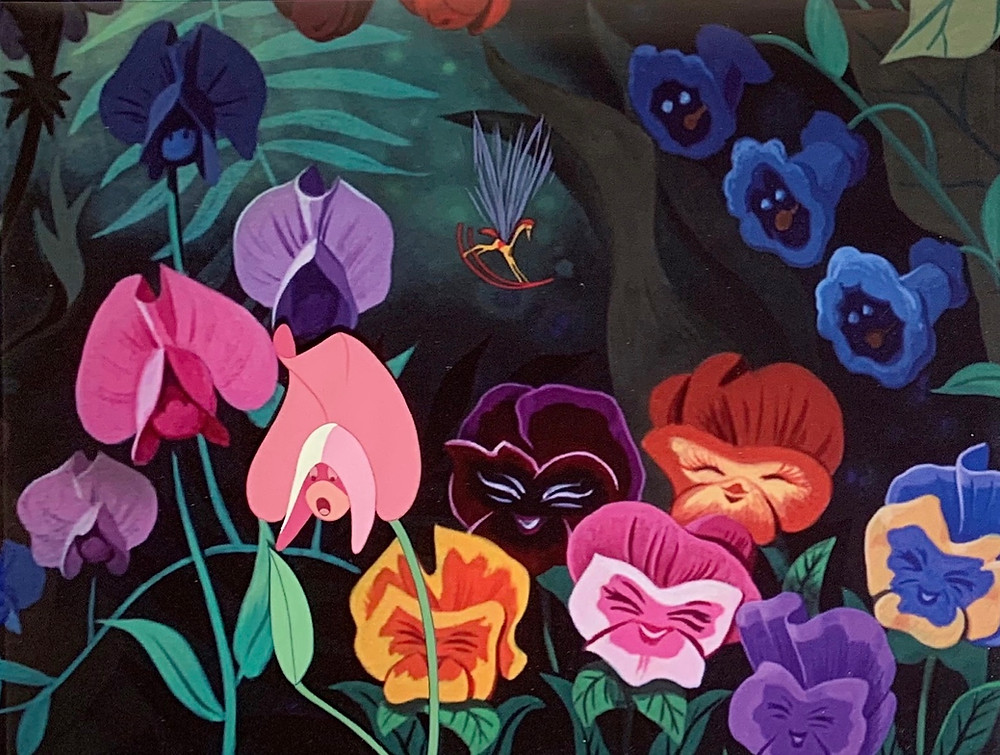 """Original Production Animation Cel of Sweet Pea Flower from """"Alice In Wonderland,"""" 1951"""
