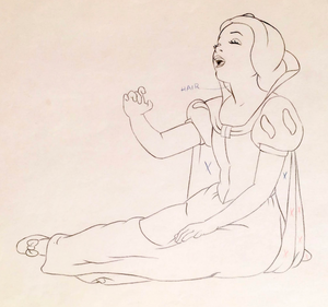Close up of the Snow White production drawing.
