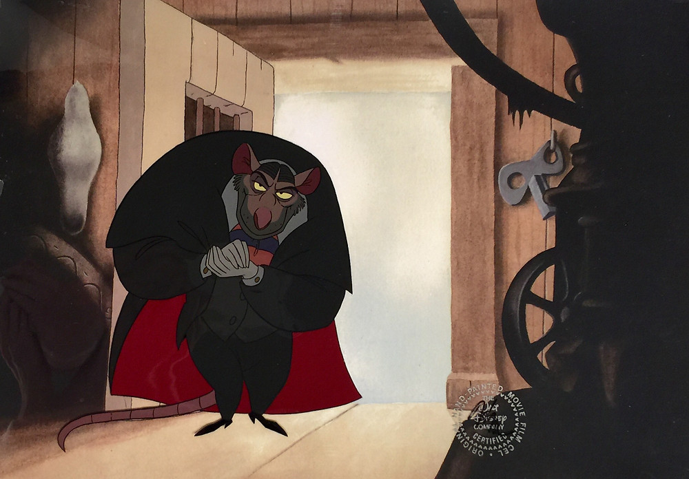 """Original hand painted production cel of Professor Ratigan set on a lithographic copy of a non-production watercolor background that matches the scene from """"The Great Mouse Detective,"""" 1986; Numbered 7 and Disney seal lower right; Size - Ratigan: 6 3/4"""" x 6 1/2""""; Image: 11"""" x 15""""."""