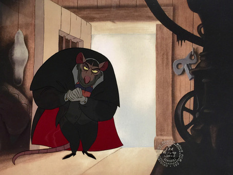 "Original production cel of Professor Ratigan from ""The Great Mouse Detective,"" 1986"