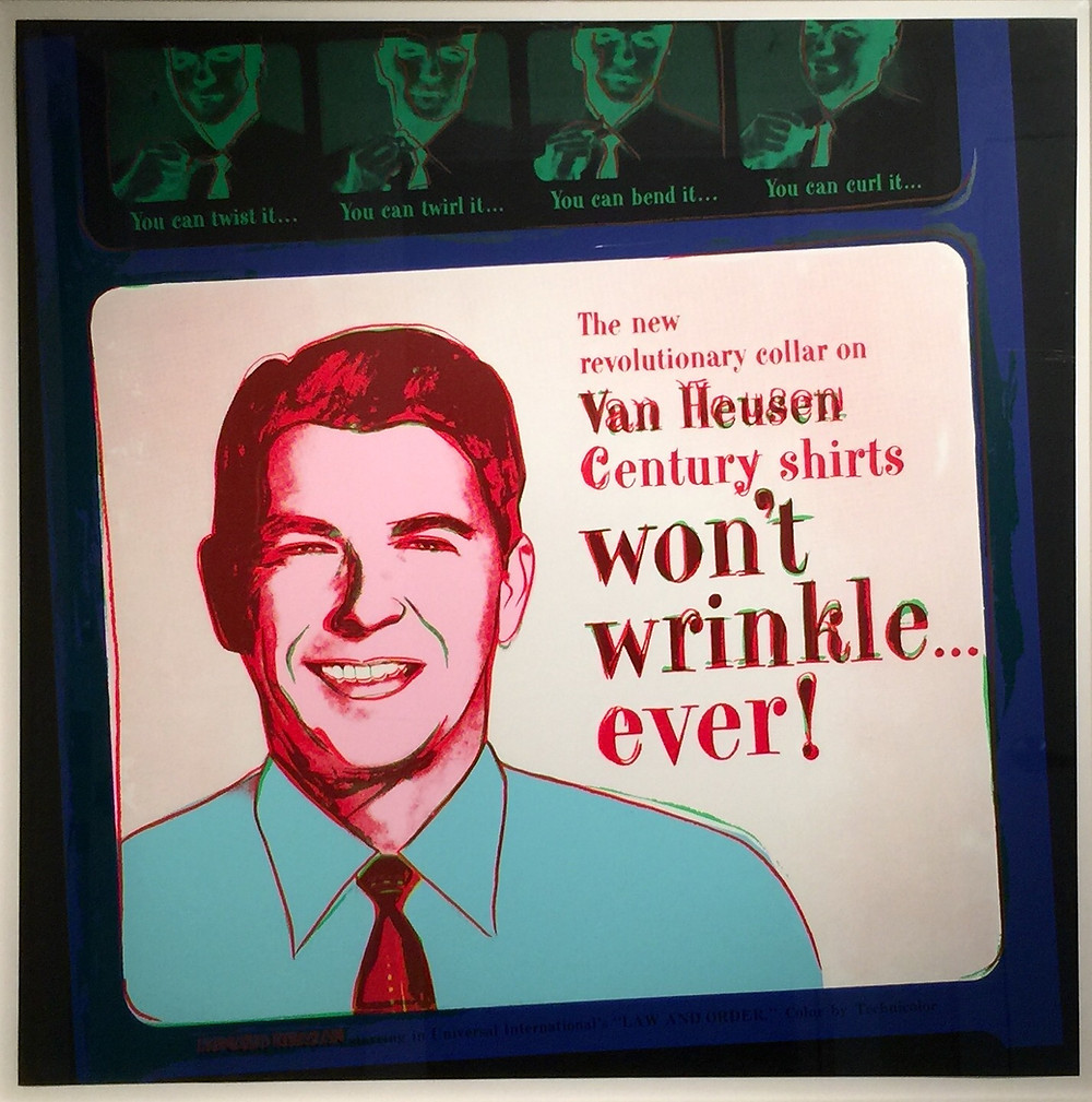 """Van Heusen (Ronald Reagan) From Ads, 1985; Screenprint in colors on Lenox Museum Board; Signed Andy Warhol and numbered 190/190 in pencil lower right; Published by Ronald Feldman Fine Arts, Inc., NY; Size - Sheet 38"""" x 38"""", Frame 43 1/2"""" x 43 1/2""""; Framed floated on a white mat, white wood exterior frame, and plexiglass; Catalog Raisonne: Feldman/Schellmann: II.356."""