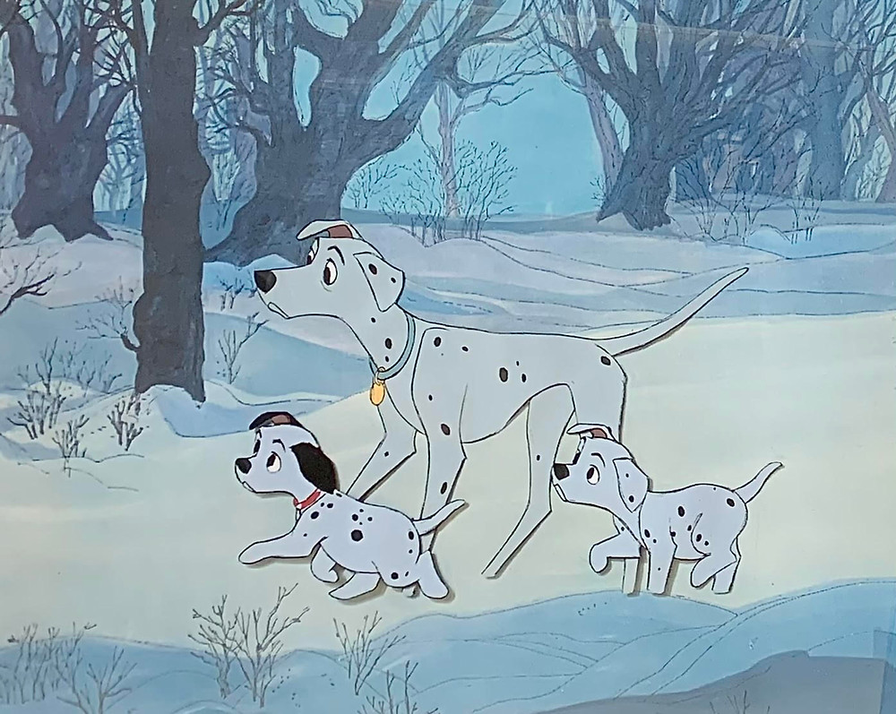 """Original Production Animation Cel of Perdita, Lucky, and Puppy from """"One Hundred and One Dalmatians,"""" 1961"""