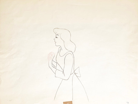 "Original Production Animation Drawing of Cinderella from ""Cinderella,"" 1950"