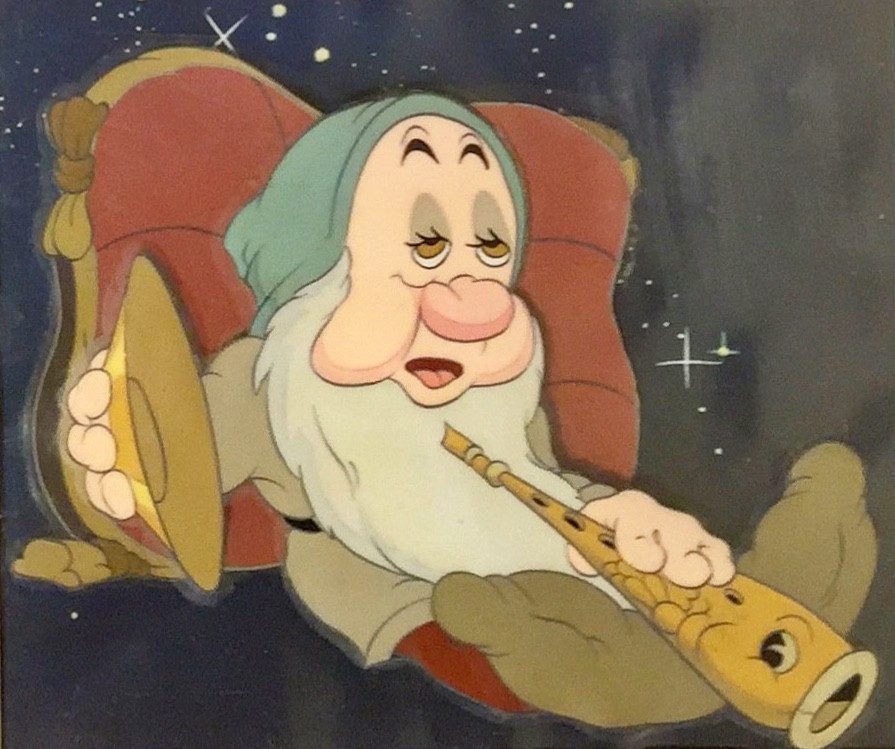 "Original hand painted and hand inked production animation cel of Sleepy with a cymbal and fish flute set over an airbrushed Courvoisier background from ""Snow White and the Seven Dwarfs,"" 1937, Walt Disney Studios; Size - Sleepy: 4 1/2 x 5 1/2"", Image 5 1/4 x 6"", Frame 11 1/2 x 12""; Framed with a gold wood frame, two acid free mats, and plexiglass."