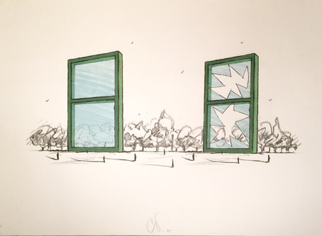 "Lithograph ""Proposal for a Civic Monument in the Form of Two Windows,"" 1982 by Claes Oldenburg"
