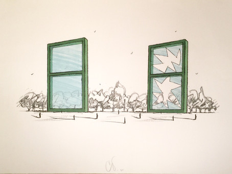 """Lithograph """"Proposal for a Civic Monument in the Form of Two Windows,"""" 1982 by Claes Oldenburg"""