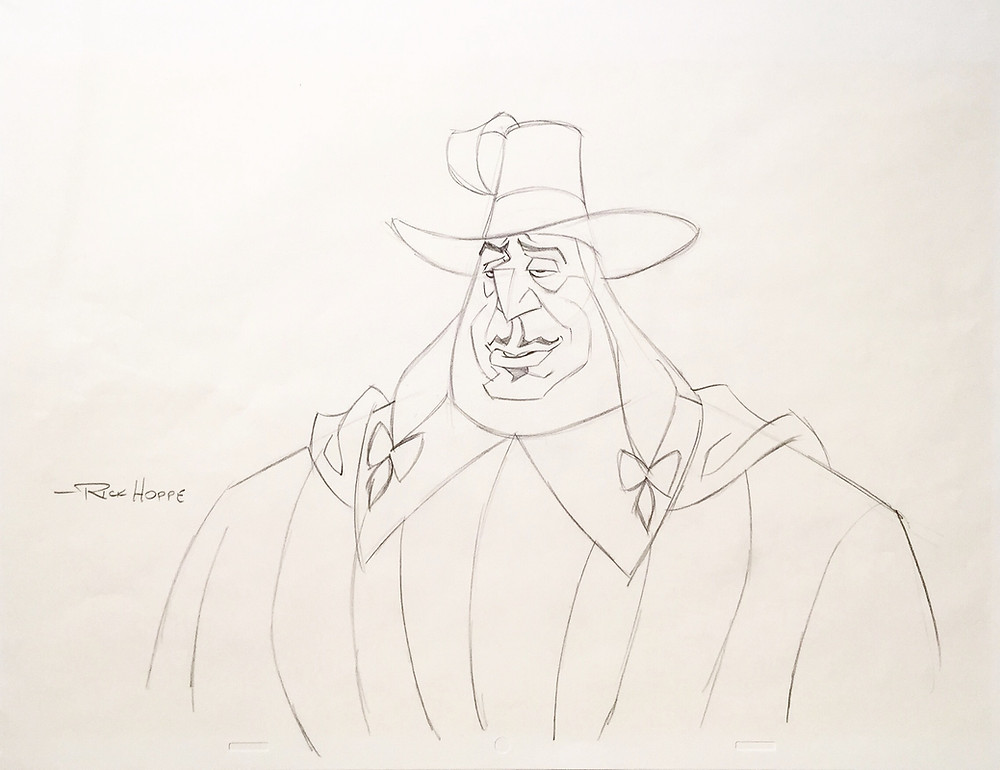 "Original Production Animation Drawing of Governor Ratcliffe from ""Pocahontas,"" 1995"