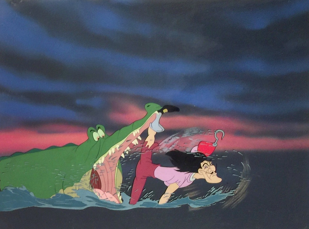 "Original hand inked and hand painted production animation cel of Captain Hook and Tick-Tock with Water Effects cel from ""Peter Pan,"" 1953; Walt Disney Studios; Set over a hand prepared custom background; Size - Captain Hook & Tick-Tock: 11 1/4 x 5 1/2"", Image 12 1/4 x 16""; Unframed."
