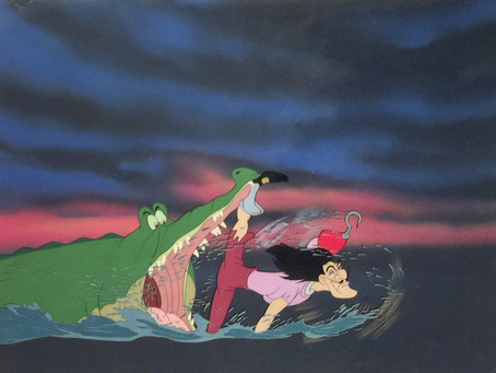 "Original Production Animation Cel of Captain Hook and Tick-Tock from ""Peter Pan,"" 1953"