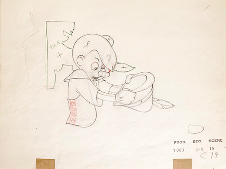 "Original Production Animation Drawing of Pinocchio from ""Pinocchio,"" 1940"