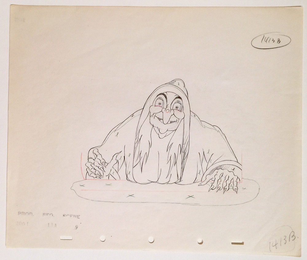 "Original production drawing in red, blue, green, and graphite pencils of the Old Hag (The Witch) from ""Snow White and the Seven Dwarfs,"" 1937; Numbered 1413B lower right; On watermarked five peg hole paper and stamped with production numbers lower left; Size - Old Hag 5 x 7 1/2"", Sheet: 10 x 12""; Unframed."