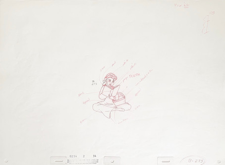 """Original Production Animation Drawing of Belle from """"Beauty and the Beast,"""" 1991"""