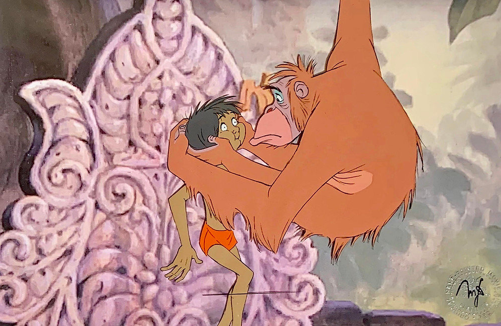 """Original Production Animation Cel of King Louie and Mowgli from """"The Jungle Book,"""" 1967"""