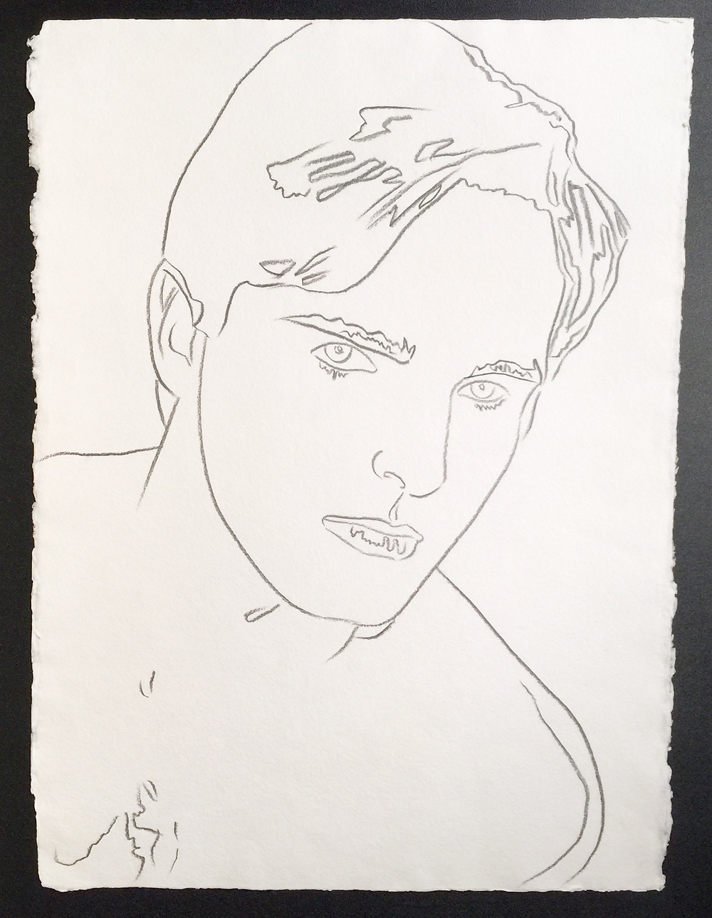 "Miguel Bose; 1983; Graphite on paper; With the 'The Estate of Andy Warhol' and 'Authorized by the Andy Warhol Foundation for the Visual Arts' inkstamps and numbered 115.398 and D1277 on the reverse; Size - Sheet: 31 3/4"" x 23 3/4""; Unframed."