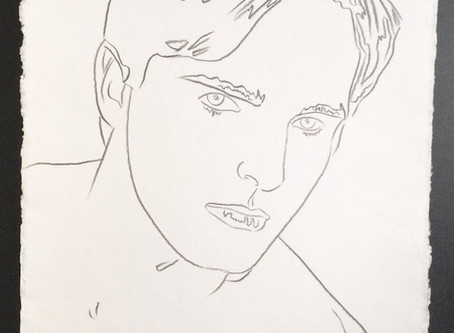 """Original Authenticated Graphite Drawing of """"Miguel Bose,"""" 1983 by Andy Warhol"""