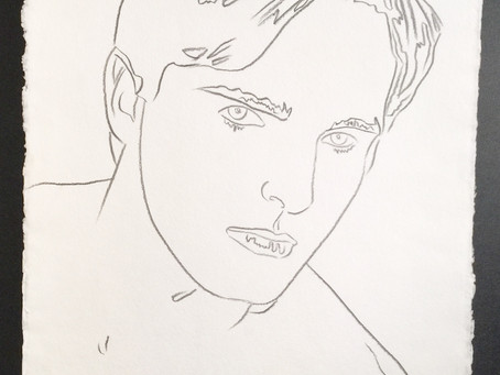 "Original Authenticated Graphite Drawing of ""Miguel Bose,"" 1983 by Andy Warhol"