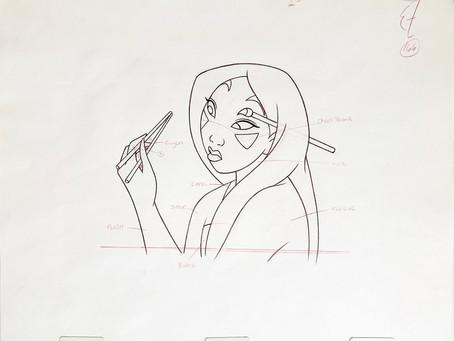 """Original Production Animation Drawing of Mulan from """"Mulan"""" 1998"""