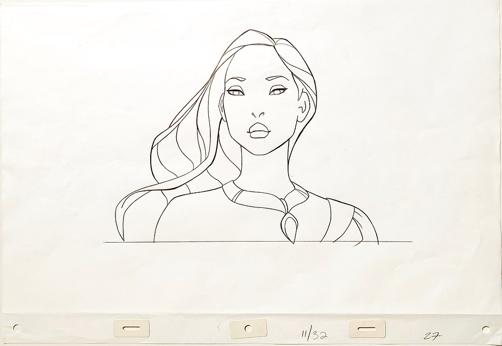 "Original Production Animation Drawing of Pocahontas from ""Pocahontas,"" 1995"