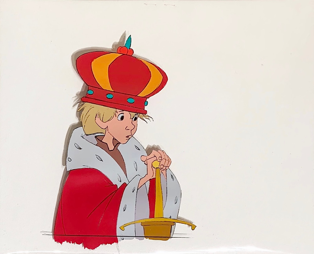 Original production animation cel of Wart as King Arthur without the background.