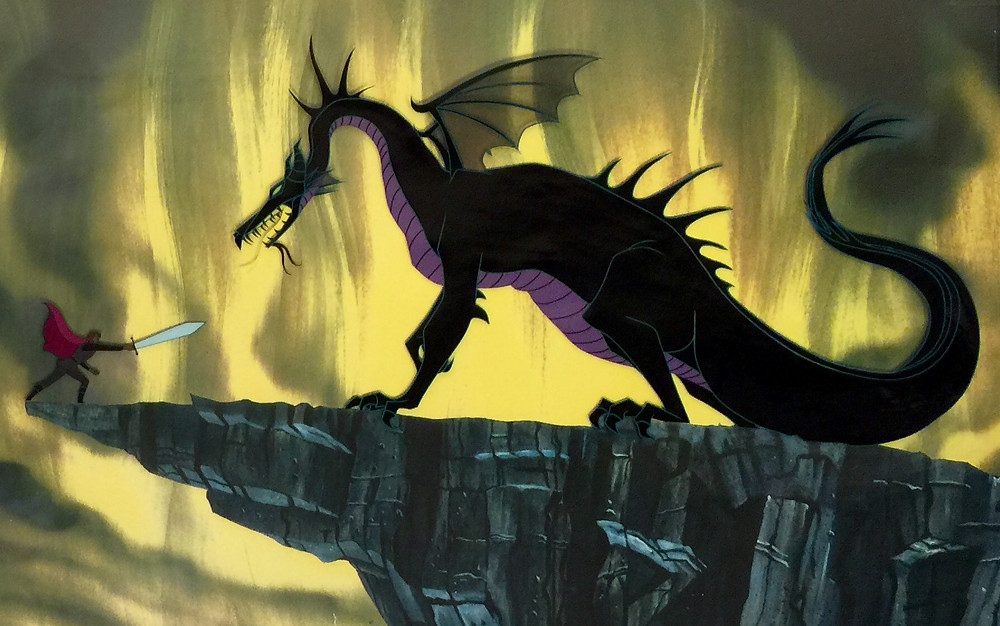 "Original Production Animation Cels of Maleficent As The Dragon and Prince Phillip From ""Sleeping Beauty,"" 1959"