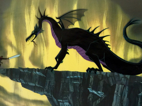 "Original Production Cels of Maleficent As The Dragon & Prince Phillip From ""Sleeping Beauty,"" 1959"