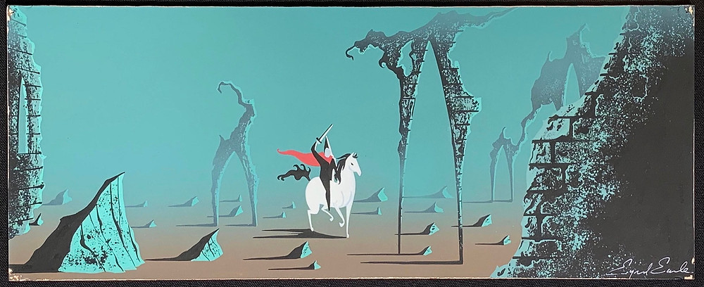 """Eyvind Earle Original Concept Painting of Prince Phillip and Samson from """"Sleeping Beauty,"""" 1959"""