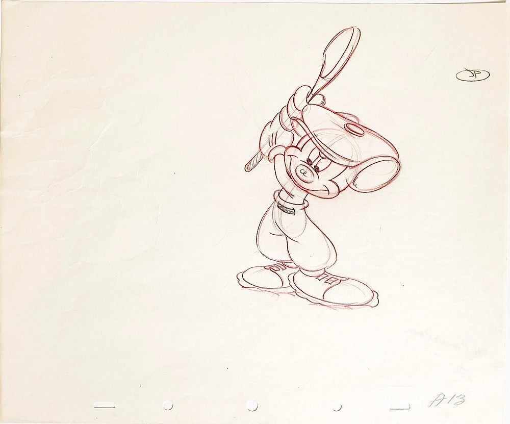 """Original Production Animation Drawing of Mickey Mouse from """"Canine Caddy,"""" 1941"""