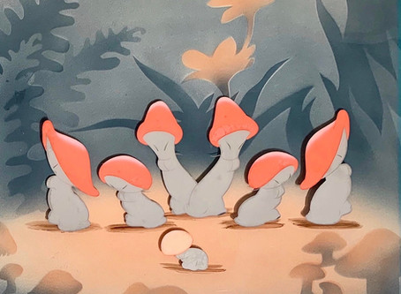 """Original Animation Cel of Mushrooms from """"The Nutcracker Suite"""" sequence of """"Fantasia,"""" 1940"""