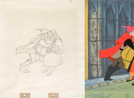 """Original Production Animation Cel & Drawing of Prince Phillip & King Hubert from """"Sleeping Beauty"""""""