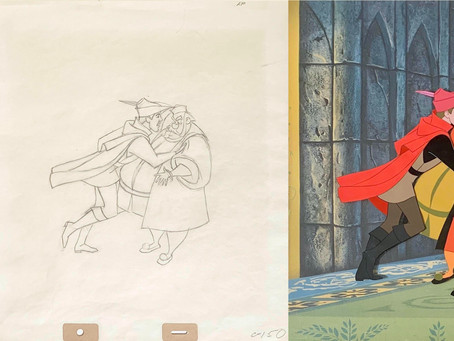 "Original Production Animation Cel & Drawing of Prince Phillip & King Hubert from ""Sleeping Beauty"""