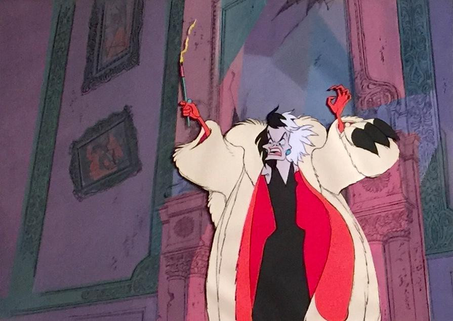 "Original Production Animation Cel of Cruella De Vil & BG from ""One Hundred and One Dalmatians,"" 1961"