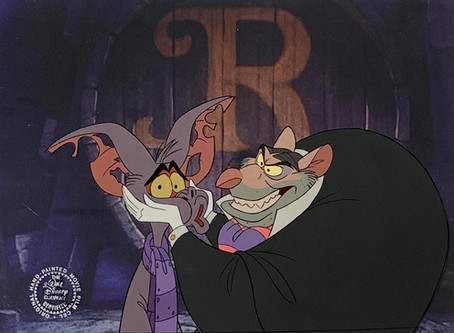 """Original Production Animation Cel of Ratigan and Fidget from """"The Great Mouse Detective,"""" 1986"""