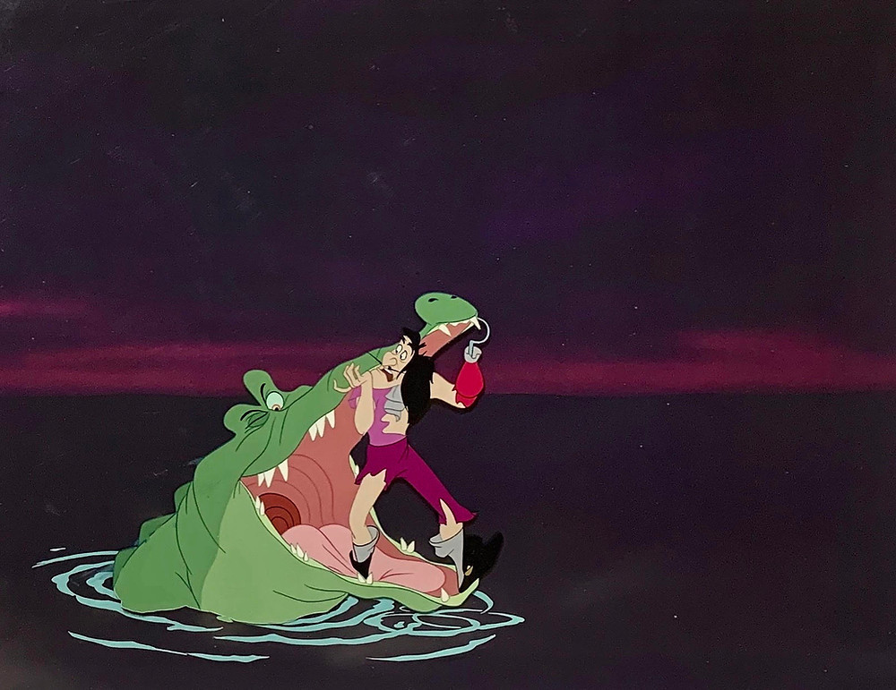 "Original Production Animation Cel Setup of Captain Hook and Tick-Tock from ""Peter Pan,"" 1953"