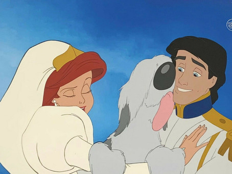 "Original Production Animation Cels of Princess Ariel, Prince Eric, and Max from ""The Little Mermaid"""