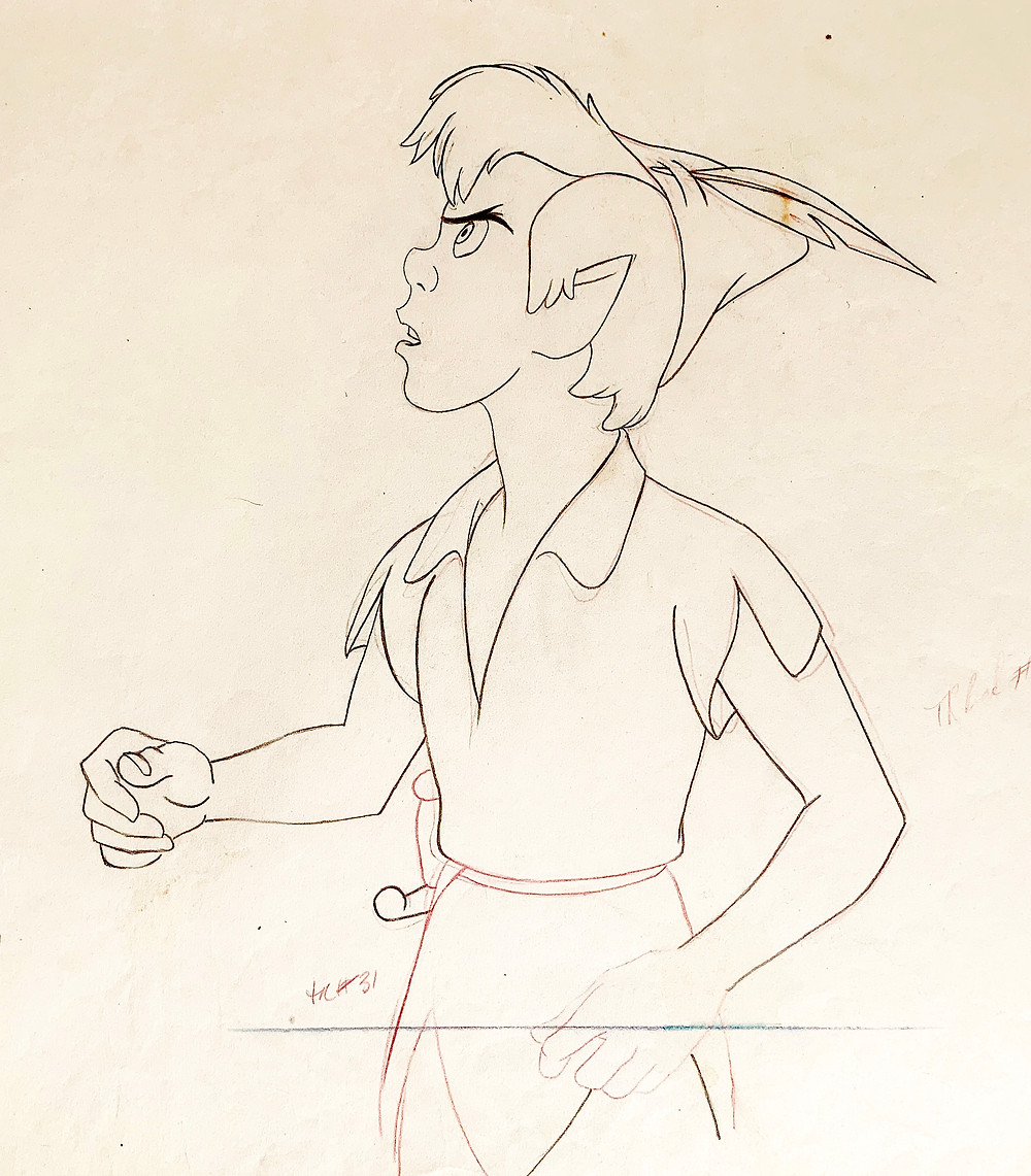 Close up of the original production animation drawing of Peter Pan.