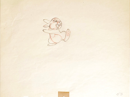 "Original Production Animation Drawing of Thumper from ""Bambi,"" 1942"
