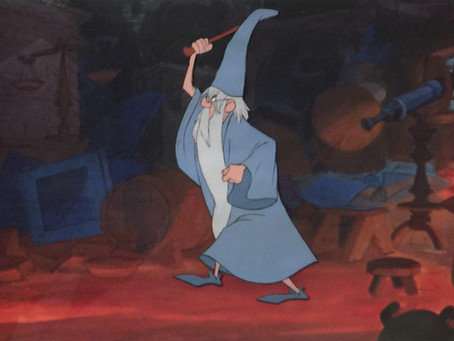 """Original Production Animation Cel of Merlin from """"The Sword In The Stone,"""" 1963"""